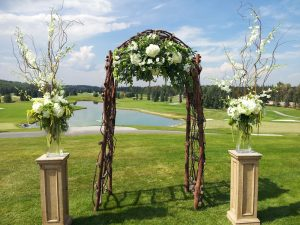 calgary wedding flowers florist real inspiration ceremony decor focal flowers dahlia floral design