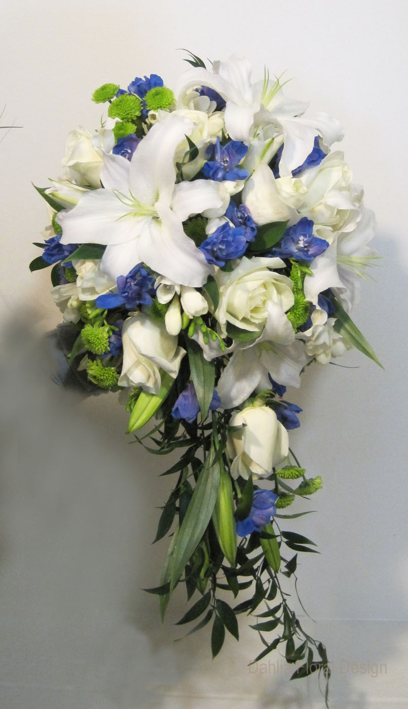 blue and white cascade wedding flower bridal party bouquet. Black Bedroom Furniture Sets. Home Design Ideas
