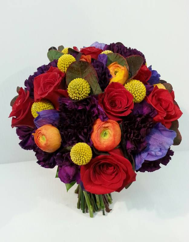 Fusion mixed colored bouquets dahlia floral design vibrant bold bright bouquet with red purple yellow orange flowers calgary real wedding mightylinksfo
