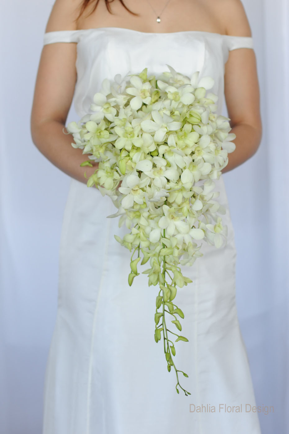 Cascade Orchid Bridal Bouquet : White and green wedding bouquets dahlia floral design