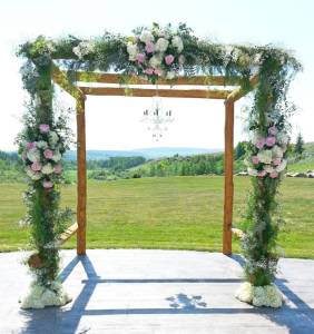Wedding ceremony ideas dahlia floral design calgary arch pale pink white flowers real calgary wedding flower ceremony reception mightylinksfo
