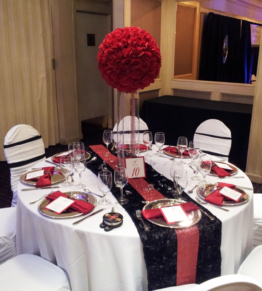 Red rose ball topiary tall wedding flower centerpiece calgary