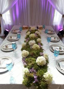 Rustic Elegant Moss Floral Table Runner Calgary Real Wedding Reception  Centerpiece Flowers