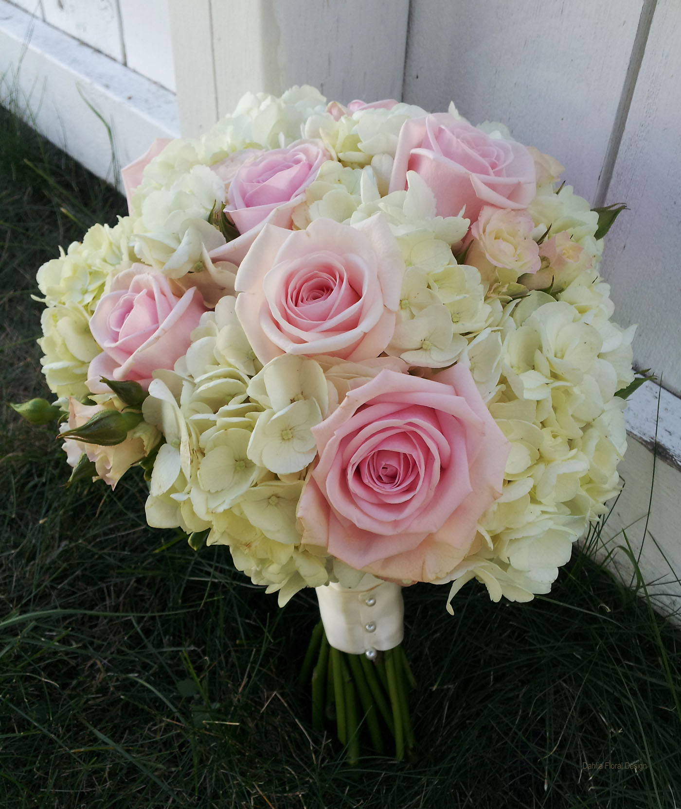 Pink Wedding Flowers: Ivory Hydrangea With Soft Pink Roses Calgary Wedding