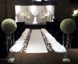 Wedding ceremony ideas dahlia floral design calgary white winter rose balls aisle decor wedding ceremony flowers calgary hotel arts mightylinksfo