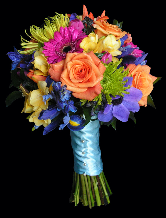 Fusion mixed colored bouquets dahlia floral design mixed color orange pink blue purple lime green and yellow wedding flowers mightylinksfo