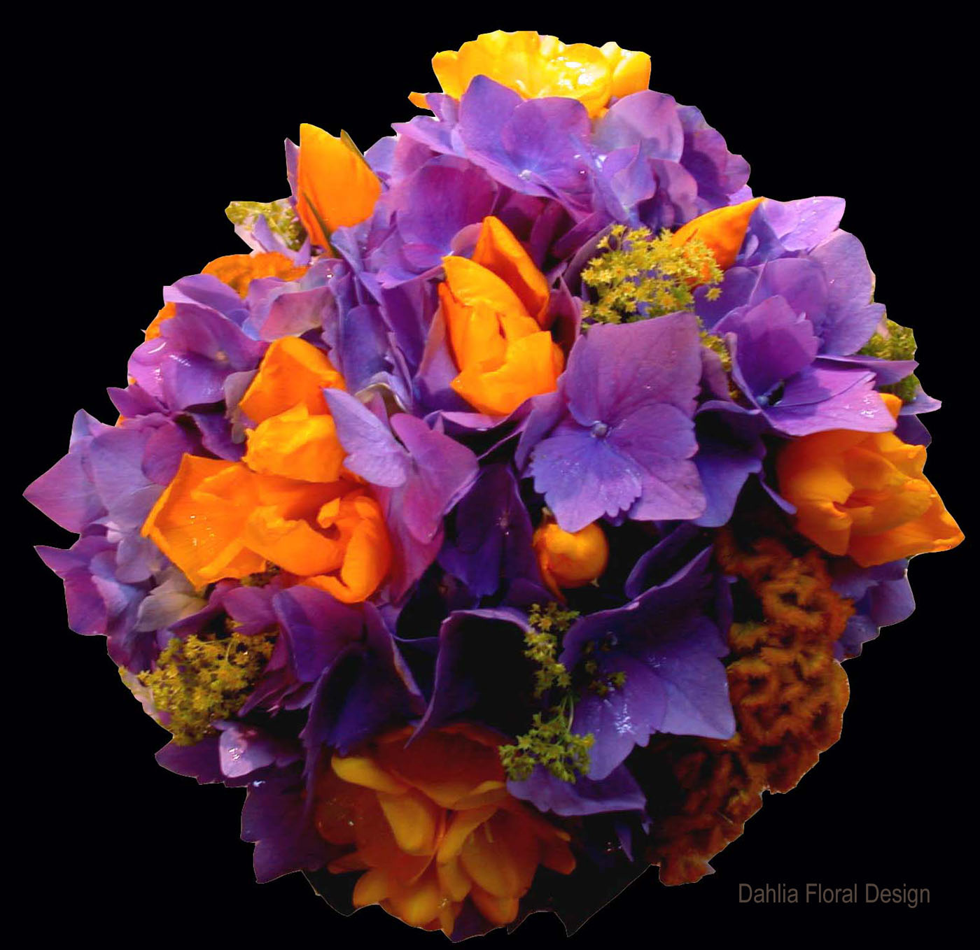 Purple And Yellow Wedding Flower Bridal Party Bouquet