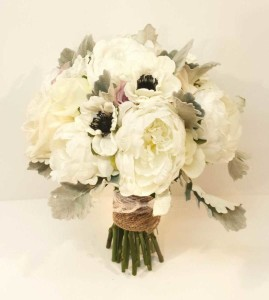 White and green wedding bouquets dahlia floral design calgary wedding flowers dahlia floral design bridal bouquet florist artificial anemone and peony silver grey dusty mightylinksfo