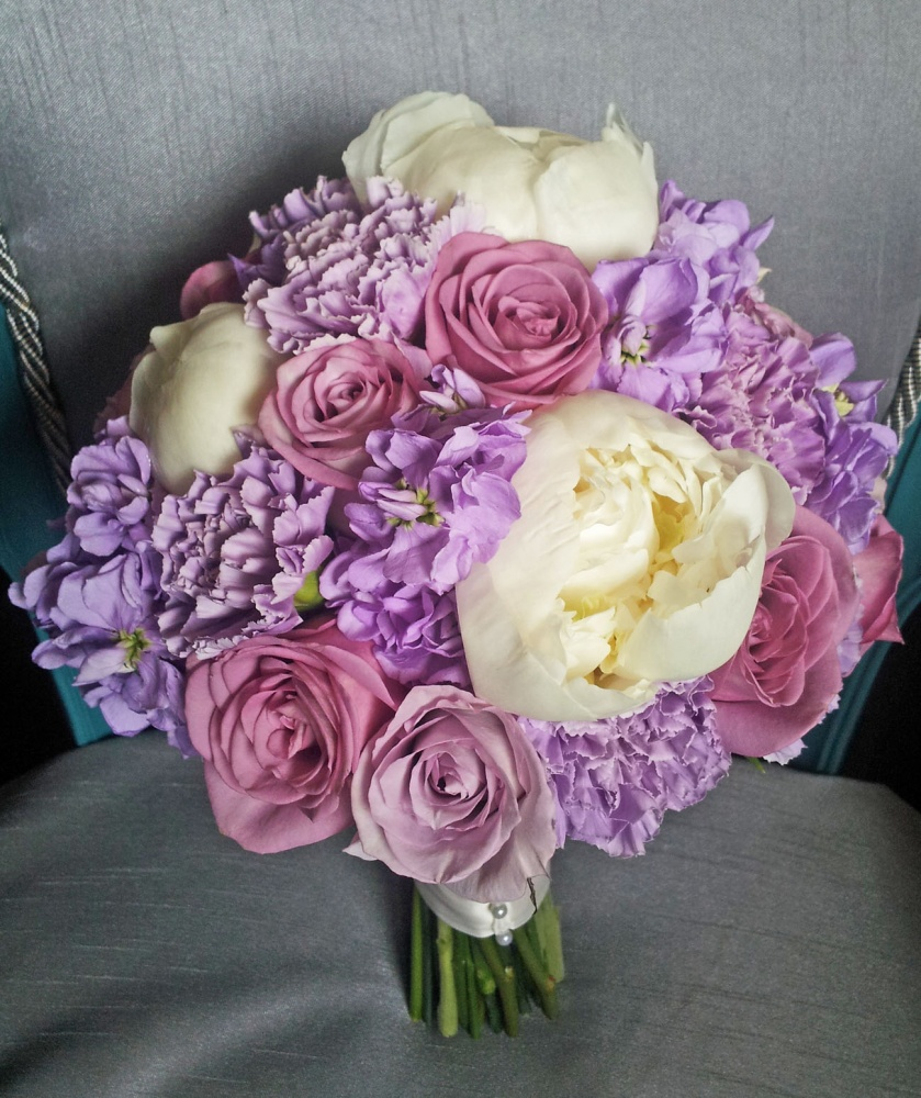 Lavender Mauve Carnations Stock Roses Ivory Peony Calgary Wedding Flowers Bouquet