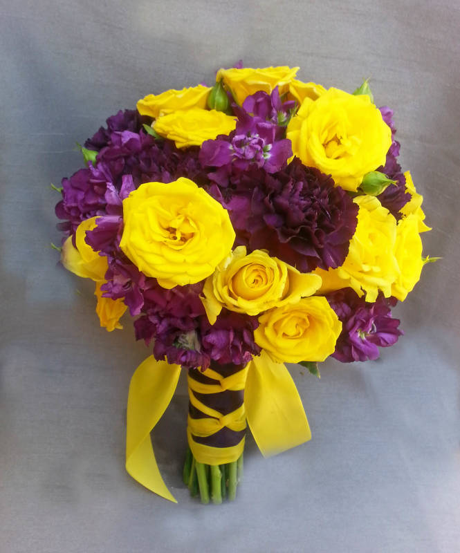 Purple And Yellow Wedding Flower Bridal Bouquet
