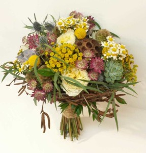 Inspiration Calgary Real Wedding Flowers Florist Dahlia Floral Design Red Orange Yellow Fall Autumn Colored