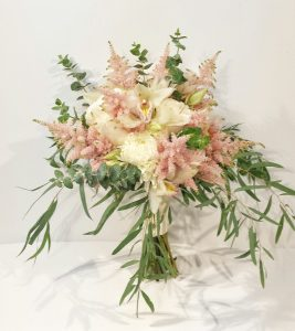 calgary wedding flowers florist real inspiration pink blush pastel bridal party bouquets dahlia floral design