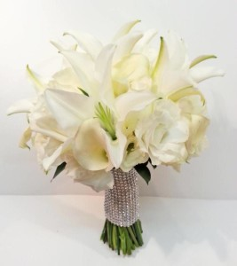 White Oriental Lily Calla Rose Wedding Bridal Bouquet