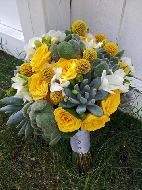 YELLOW SPRAY ROSES, CRASPEDIA FREESIA AND SUCCULENT BRIDAL BOUQUET