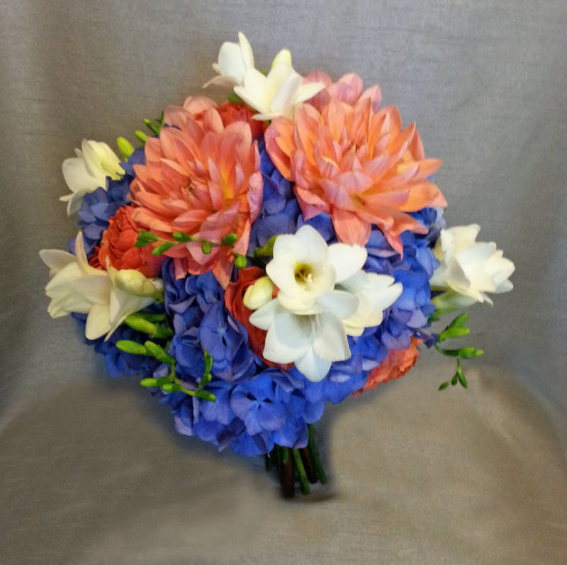 Light Blue And Coral Wedding Flowers