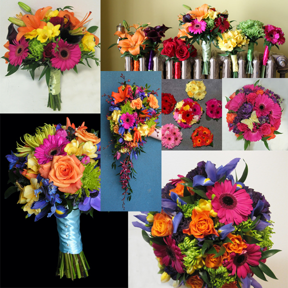 Inspiration Board - Multi Coilored Bouquets - By Dahlia Floral Design