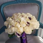 ivory roses and bi colored picasso posy calla wedding flower bridal bouquet