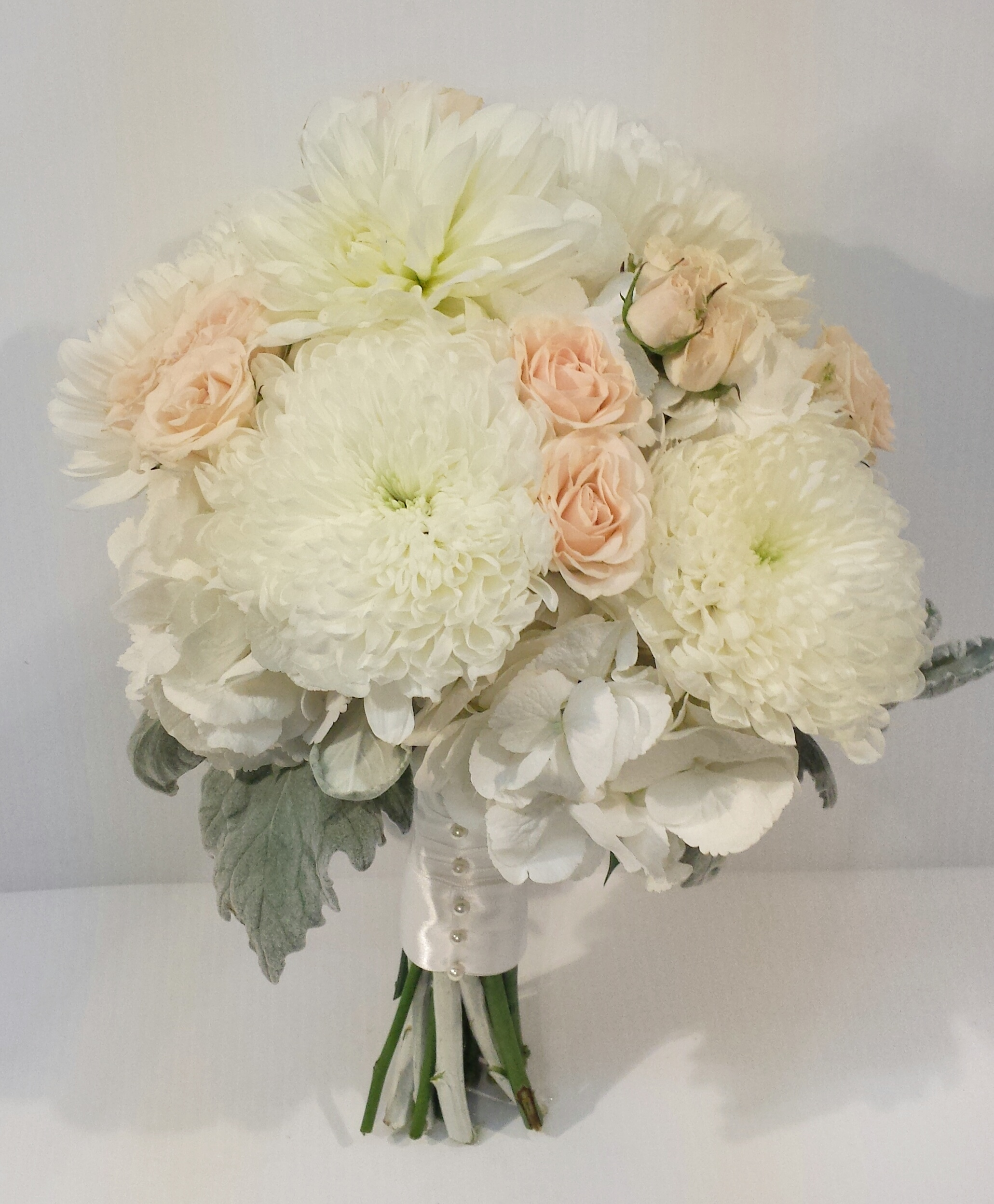 Peach and Coral Wedding Bouquets - Dahlia Floral Design