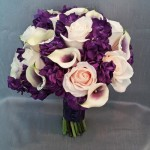 purple ivory calla rose bridal bouquet