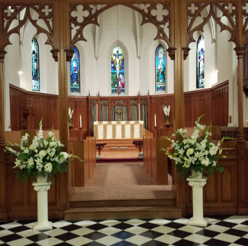 Wedding Flowers Church Pillars Altar Flower Arrangements Dahlia Floral Design