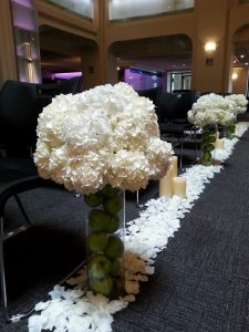calgary wedding flowers florist real inspiration ceremony aisle decor chair end pew end dahlia floral design