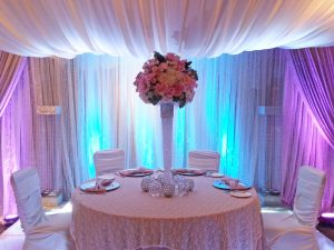 calgary wedding flowers florist real inspiration reception venue tall centerpiece table center dahlia floral design
