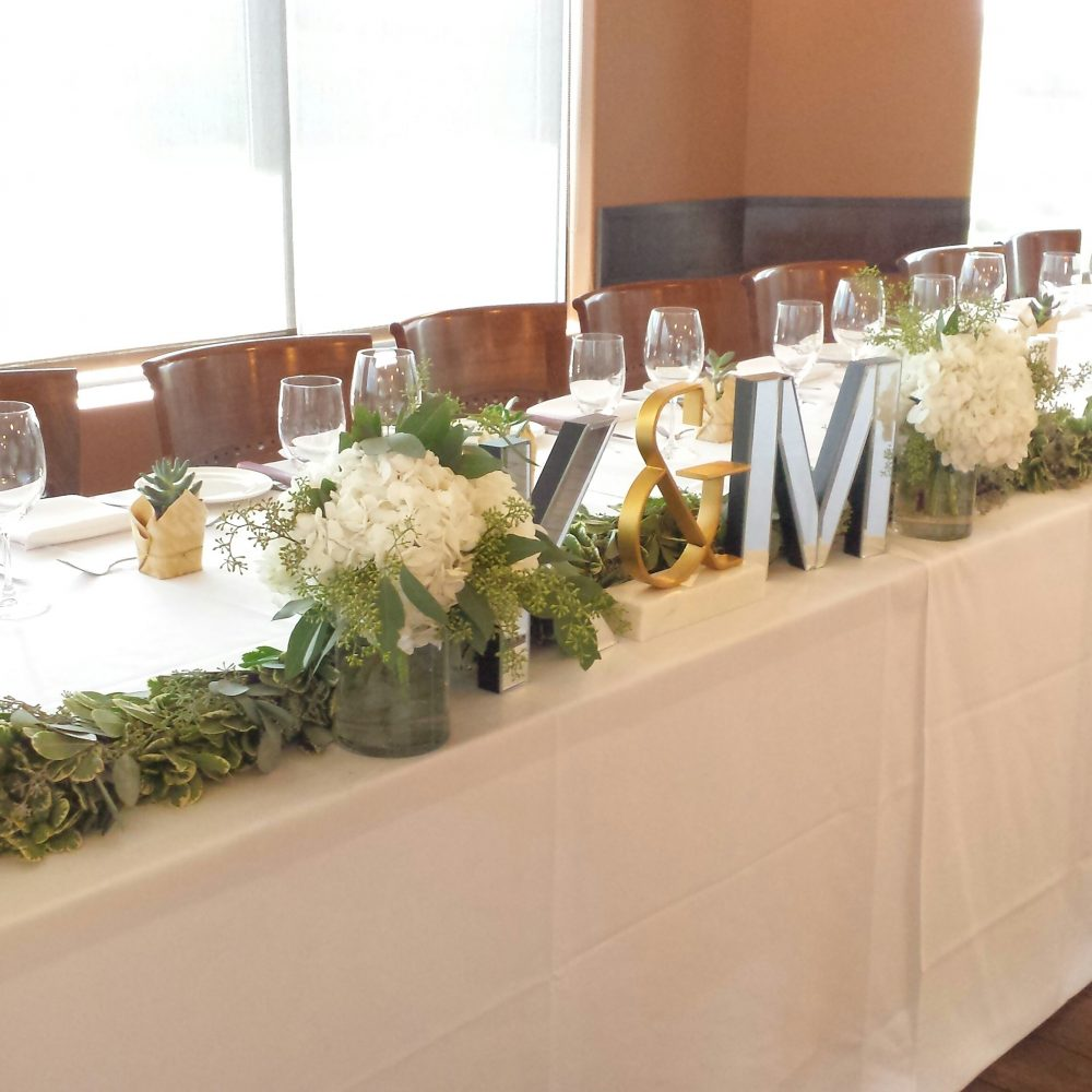 Wedding Head Table Flowers: Dahlia Floral Design